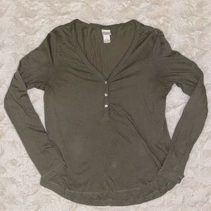 Olive Green H&M Thin Long Sleeve Top Size Small